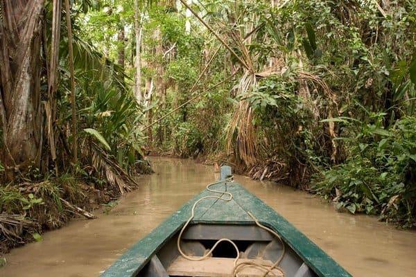 Canoa sobre el río en la Reserva Nacional Tambopata en la Amazonía peruana